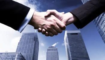 handshake of work partners