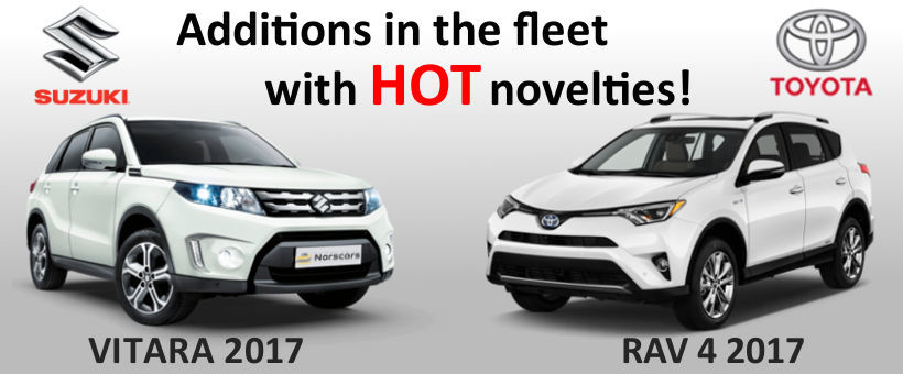 Additions in the fleet! Rent a new car Toyota RAV 4 and Suzuki Vitara