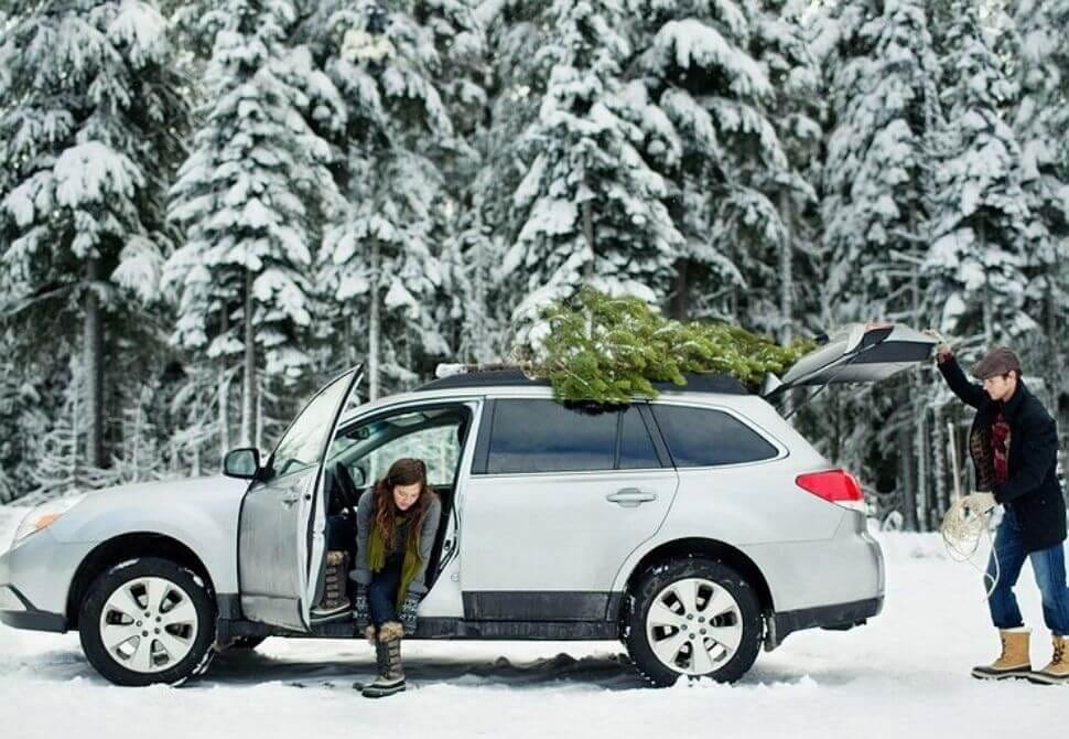 автомобиль зимой в лесу