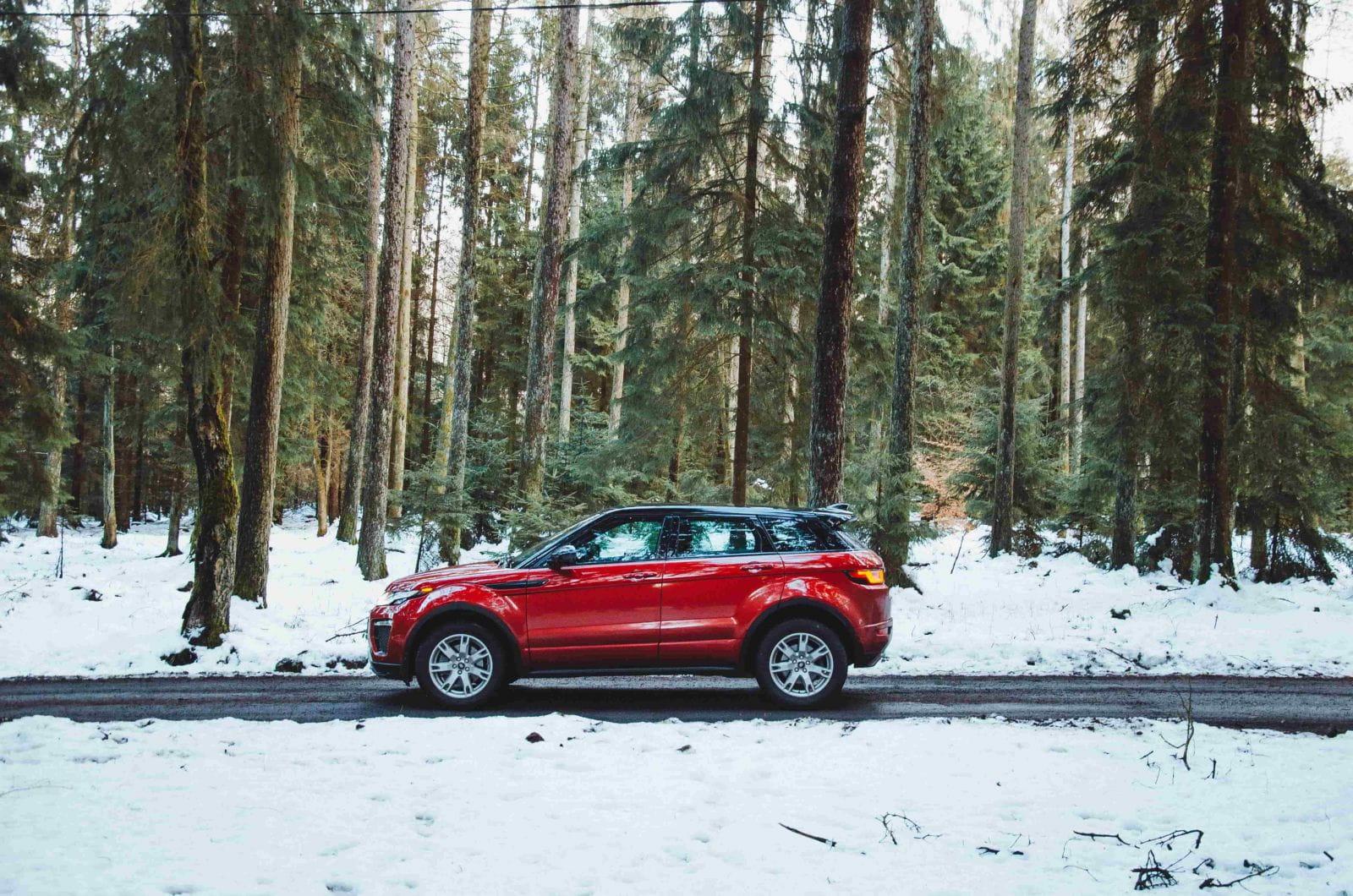 внедорожник зимой в лесу